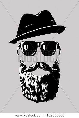 The raster version Hipster with sunglasses and a hat. Logo, abstract set, line drawing.
