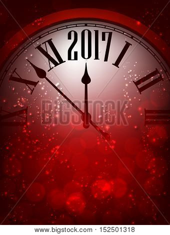 2017 New Year red background with clock. Vector illustration.