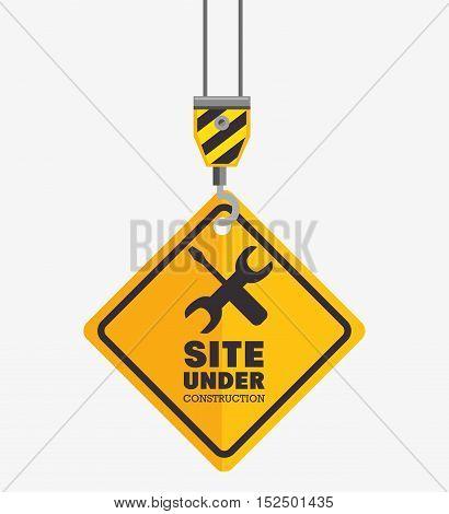 hook hold sign site under construction vector illustration eps 10