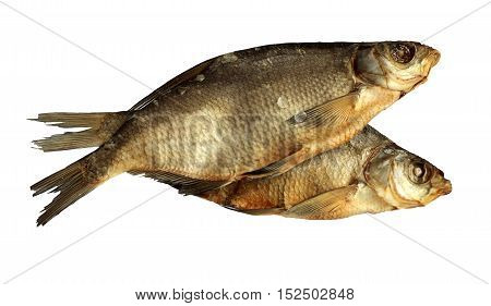 Smoked dried Asp fish isolated on white