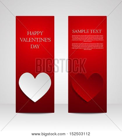 White paper hearts on a red background card.