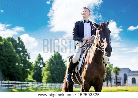 Thoughtful well-dressed man sitting on horse against cloudy sky