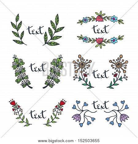 Romantic floral set in retro style. Vector illustrated laurel and flower twigs border.