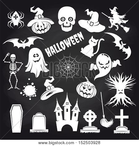 Popular halloween elements set on chalkboard background. Vector illustration