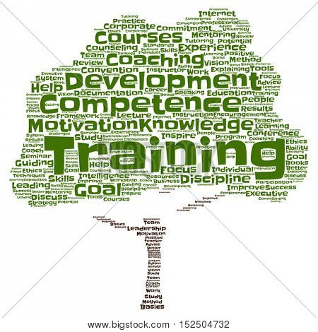 Vector concept or conceptual training, coaching or learning, tree word cloud isolated on background