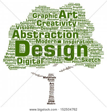Vector concept or conceptual creativity art graphic design tree word cloud isolated on background metaphor to advertising, decorative, fashion, identity, inspiration, vision, perspective or modeling
