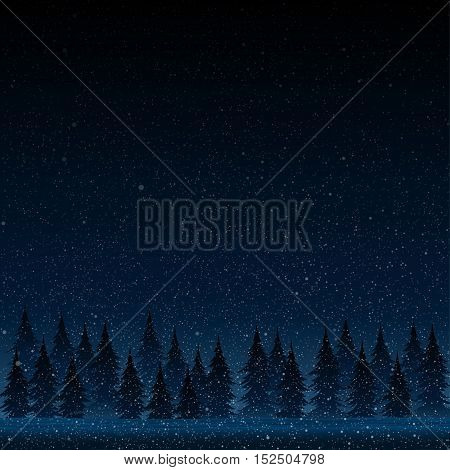 Falling snow vector. White splash on blue background. Winter snowfall hand drawn spray texture. Forest during a snow storm at night. Christmas tree.