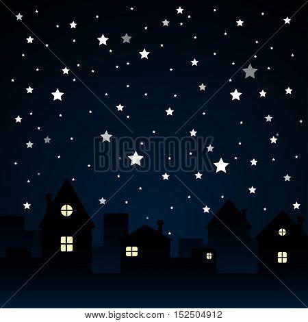 Vector Starry Night Sky. Stars Sky Silhouette City. Moon.