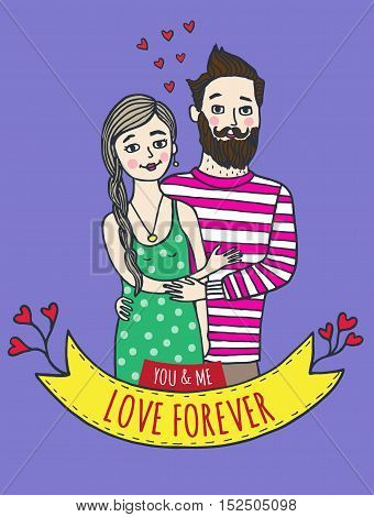 Greeting card for Valentine's Day with man and woman. Vector Illustrated card.