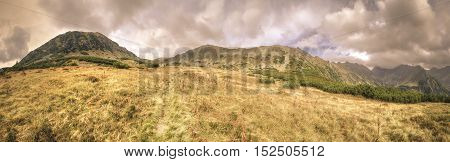Beautiful mountain panorama. Mountain valley in the autumn scenery in High Tatra Slovakia.