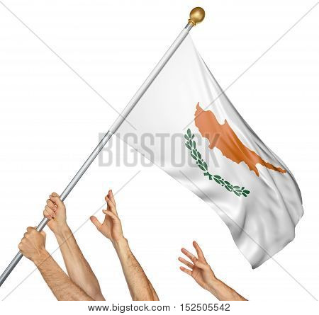 Team of peoples hands raising the Cyprus national flag, 3D rendering isolated on white background