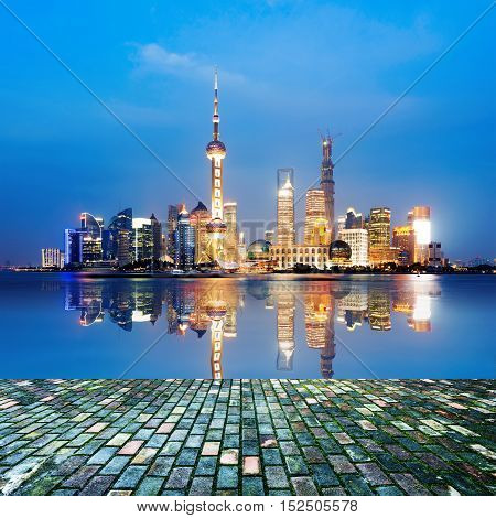 Night view of the skyline of Pudong New Area, Shanghai, China.