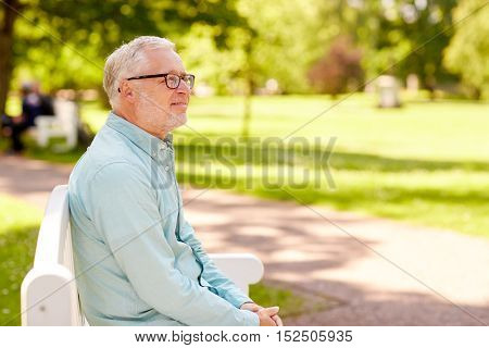 old age and people concept - happy senior man in glasses sitting at summer park