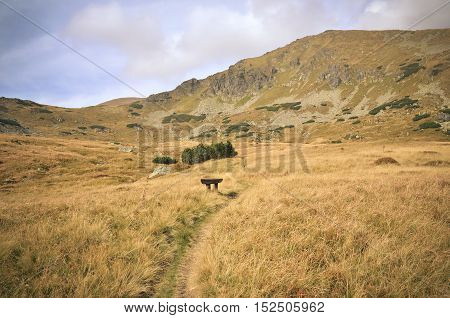 Beautiful mountain landscape. Mountain trail in the autumn scenery in High Tatra Slovakia.