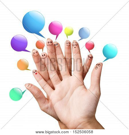 Happy finger smileys with colorful speech bubbles over white background