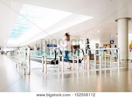 Escalator interior of the shanghai pudong airport .