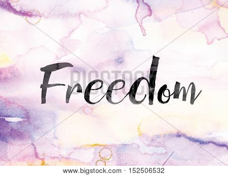 Freedom Colorful Watercolor And Ink Word Art