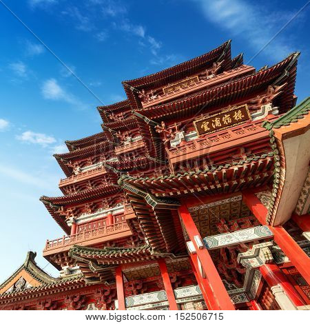 Chinese ancient architecture blue sky and white clouds (Nanchang Poetic)