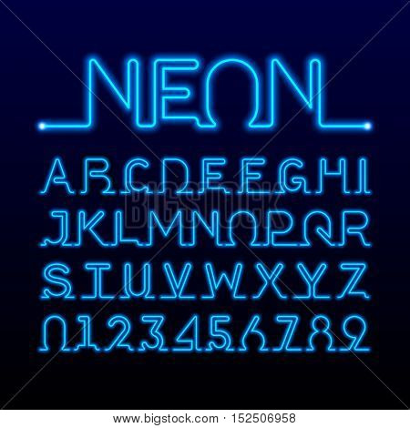 Neon font. Alphabet and numbers vector illustration