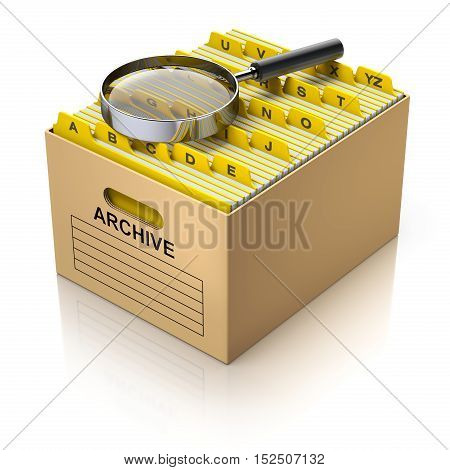 Storage box with magnifying glass and divider tabs - 3D illustration