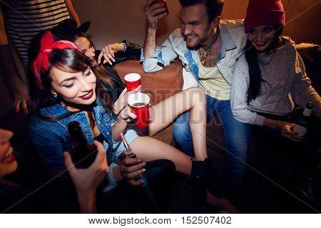 People Partying at Underground Nightclub