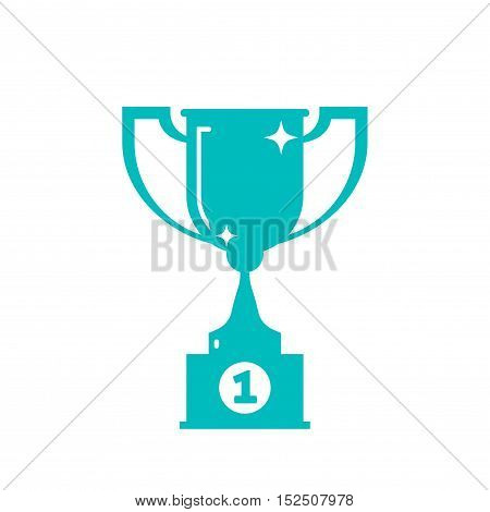 Trophy cup shape vector icon isolated on white background, first place metal winner cup silhouette, reward cup monochrome style