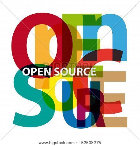 Vector open source. Isolated confused broken colorful text