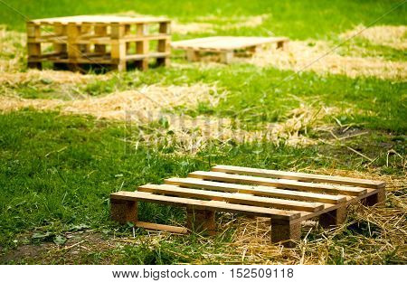 Empty wooden pallets on green grass, selective focus