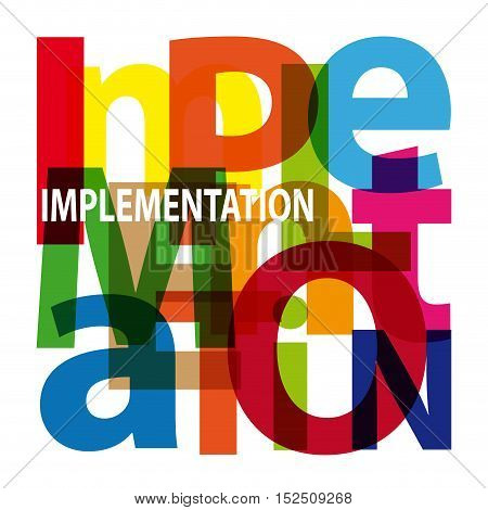 Vector implementation. Isolated confused broken colorful text