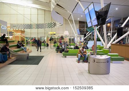 AMSTERDAM, NETHERLANDS - CIRCA NOVEMBER, 2015: inside of Schiphol Airport. Amsterdam Airport Schiphol is the main international airport of the Netherlands.