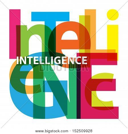 Vector intelligence. Isolated confused broken colorful text