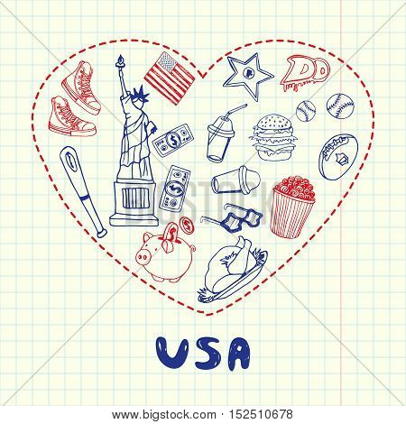 Love United States of America. Dotted heart filled with doodles associated with american nation on squared paper vector illustration. Memories about USA journey. Sketched with red and blue pen icons