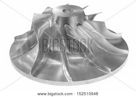 Single-stage air compressor rotor. High-precision metal. Isolated on white background. Small depth of field