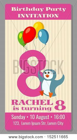 Kids birthday party invitation card with funny penguin. Vector illustration