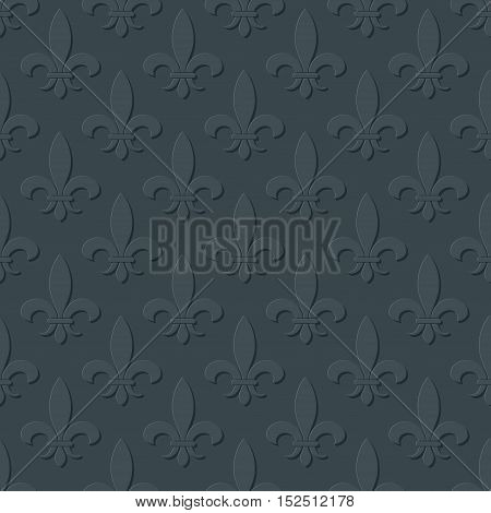 Gray fleur de lis royal lily seamless pattern. Background or wallpaper design illustration