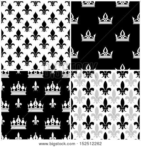 Vector crowns and fleur de lis seamless patterns set in black and white illustration