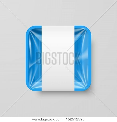 Empty Blue Plastic Food Square Container with Label on Gray Background