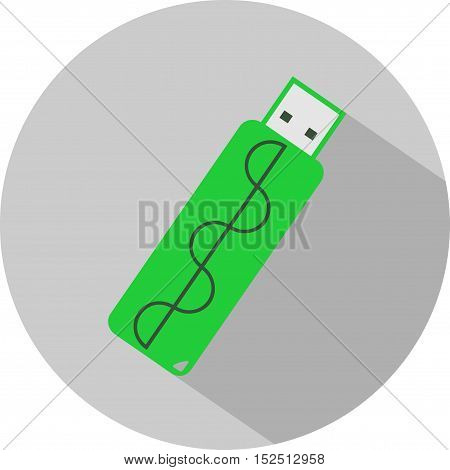 flash drive, vector illustration, memory, icon, flat