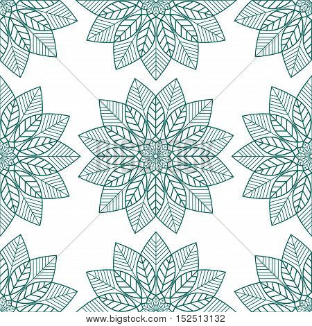 Seamless pattern of floral elements, green on white.