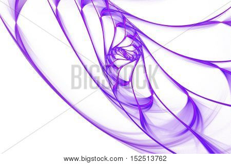 Neon swirl. Abstract colorful lines on white background. Minimalistic fractal design in pink and purple colors. Digital art. 3D rendering.