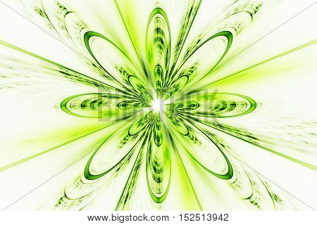 Abstract fractal flower on white background. Fantasy design in bright green and yellow colors.