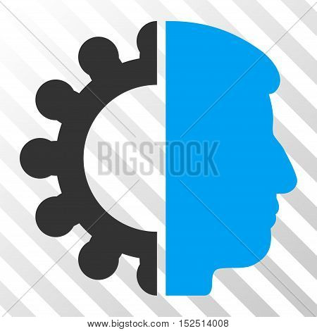 Blue And Gray Android Head toolbar pictogram. Vector pictogram style is a flat bicolor symbol on diagonal hatch transparent background.
