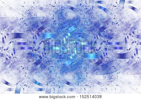 Blue debris. Abstract monochrome grunge background. Fantasy intricate fractal texture. Digital art. 3D rendering.
