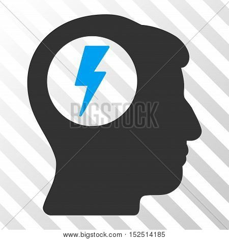 Blue And Gray Brain Electric Shock interface icon. Vector pictograph style is a flat bicolor symbol on diagonal hatch transparent background.