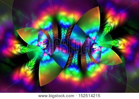 Abstract rainbow floral ornament on black background. Psychedelic fractal design for wallpapers posters or t-shirts. Digital art. 3D rendering.
