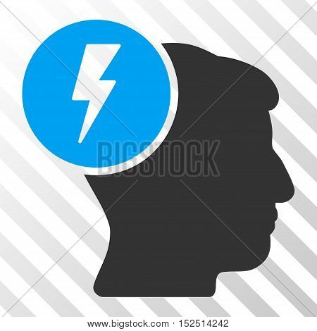 Blue And Gray Brain Electricity toolbar icon. Vector pictogram style is a flat bicolor symbol on diagonal hatch transparent background.
