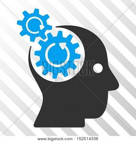 Blue And Gray Brain Gears Rotation toolbar pictogram. Vector pictograph style is a flat bicolor symbol on diagonal hatch transparent background.