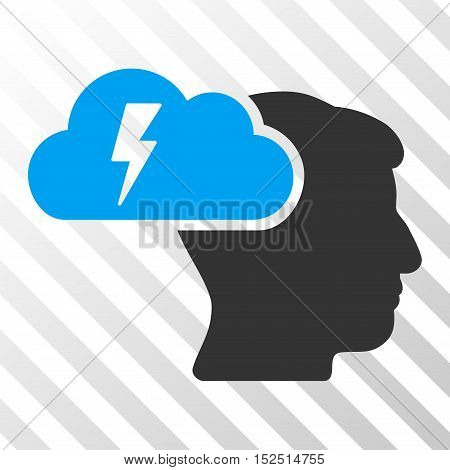 Blue And Gray Brainstorming interface toolbar icon. Vector pictogram style is a flat bicolor symbol on diagonal hatch transparent background.