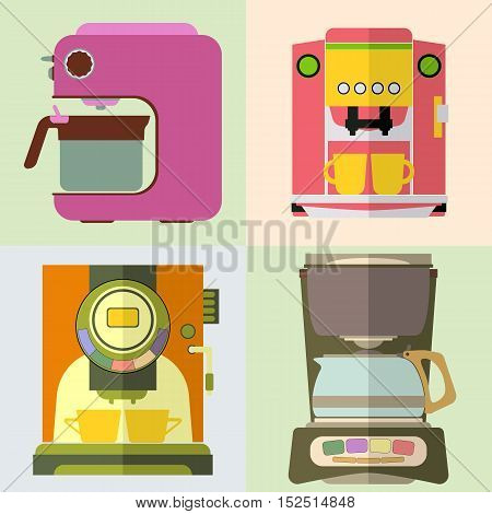 Set of coffee machine. Espresso making machine brewing two cups of coffee. Vector illustration.