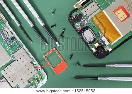 Electronics repair fine on the desktop in the studio